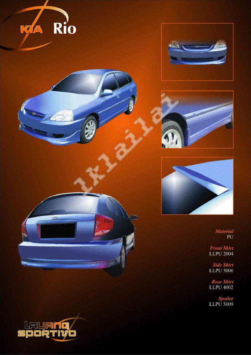 Kia Rio Full Set Skirting + Spoiler Body Kit PU Material