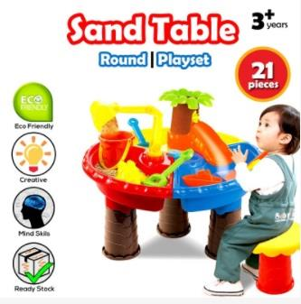Gentil Kids Beach Toy Water Sand Round Table 21 PCS Mold Set. U2039 U203a