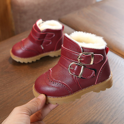 Kids Children Boy Cool Double Buckle Winter Boots Casual Outing Shoes