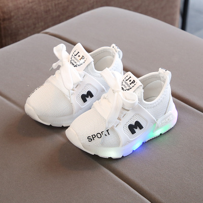 Kids Children Boy Cool LED M Letter Sports Running Casual Outing Shoes