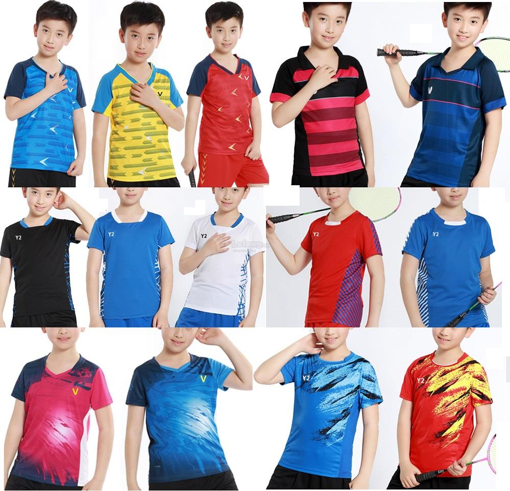 Kids Children Boys Men Badminton jersey table tennis Shirt Tshirt