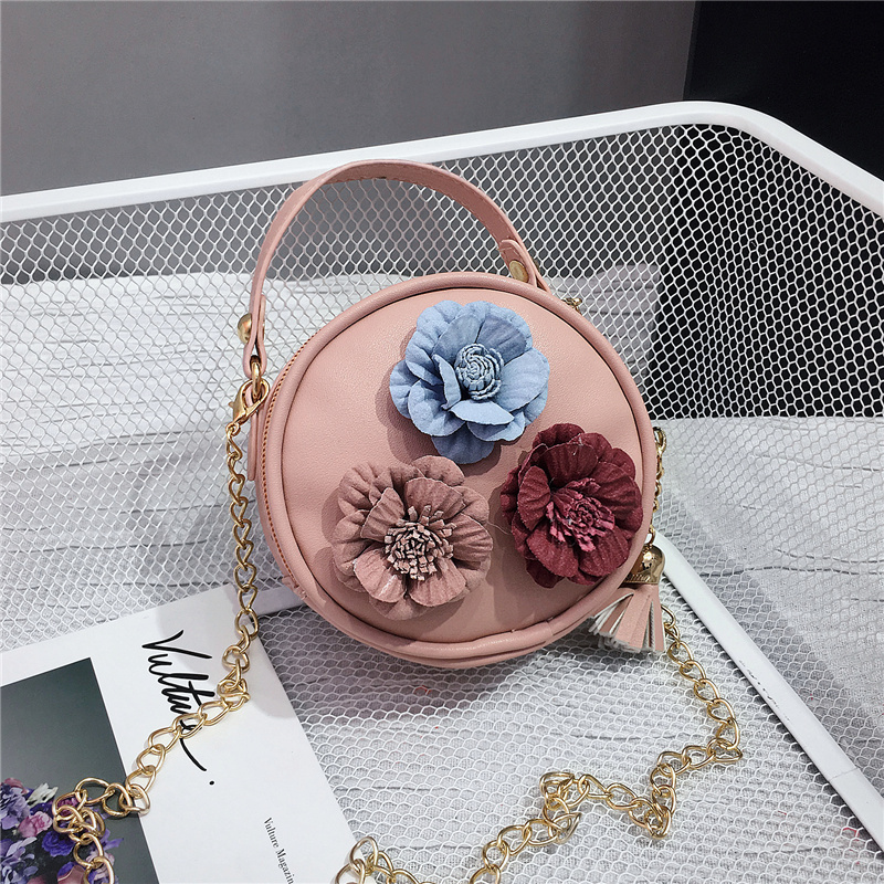 Kids Children Girl Flower Round Shoulder Messenger Baby Hand Bag