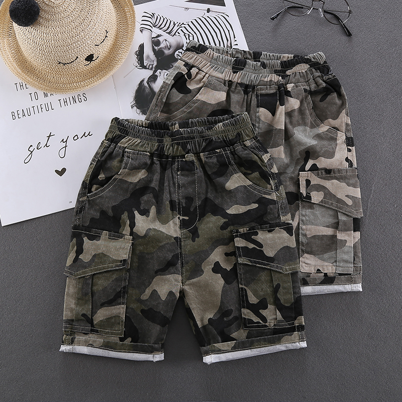 Kids Clothing Boys Bottoms Cotton Shorts Children's Male Camouflage Ou