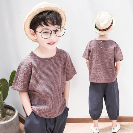 Kids Clothing Boys Sets Cotton Pants and Short Sleeved T- Shirts Casua