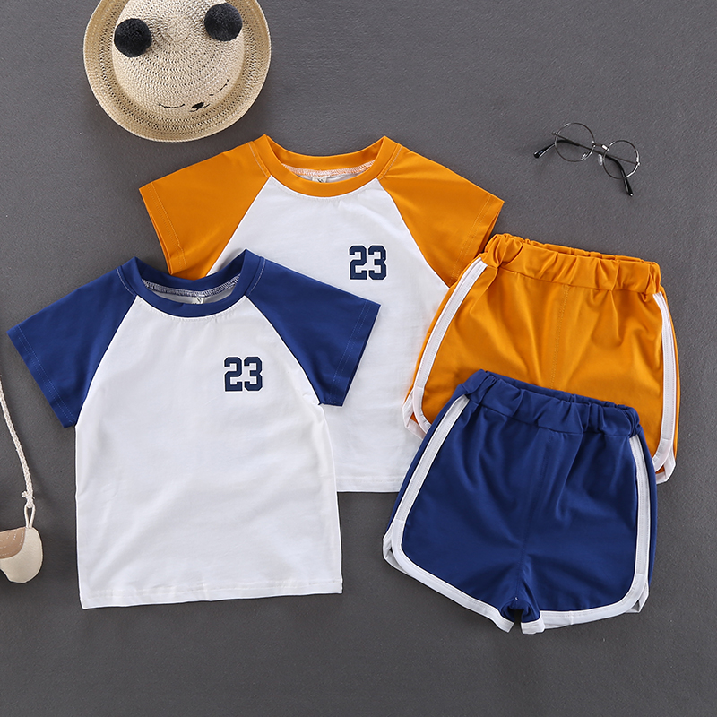 Kids Clothing Boys Sets Summer Sports Cotton T- Shirts Shorts Children