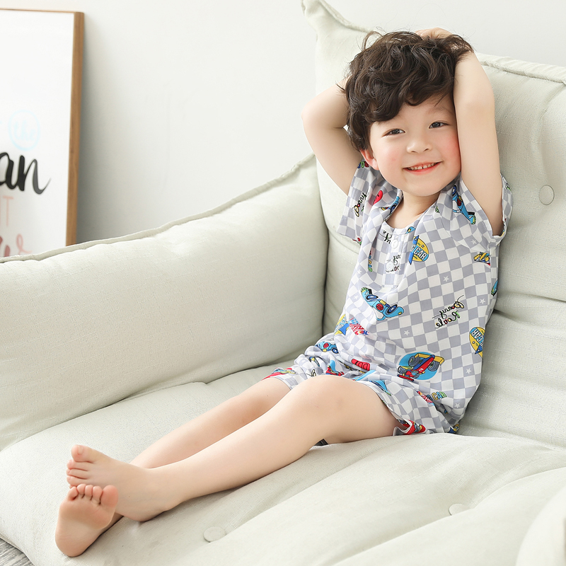Kids Clothing Boys Sleepwear Set Shirt Shorts Soft Cotton Children Nig