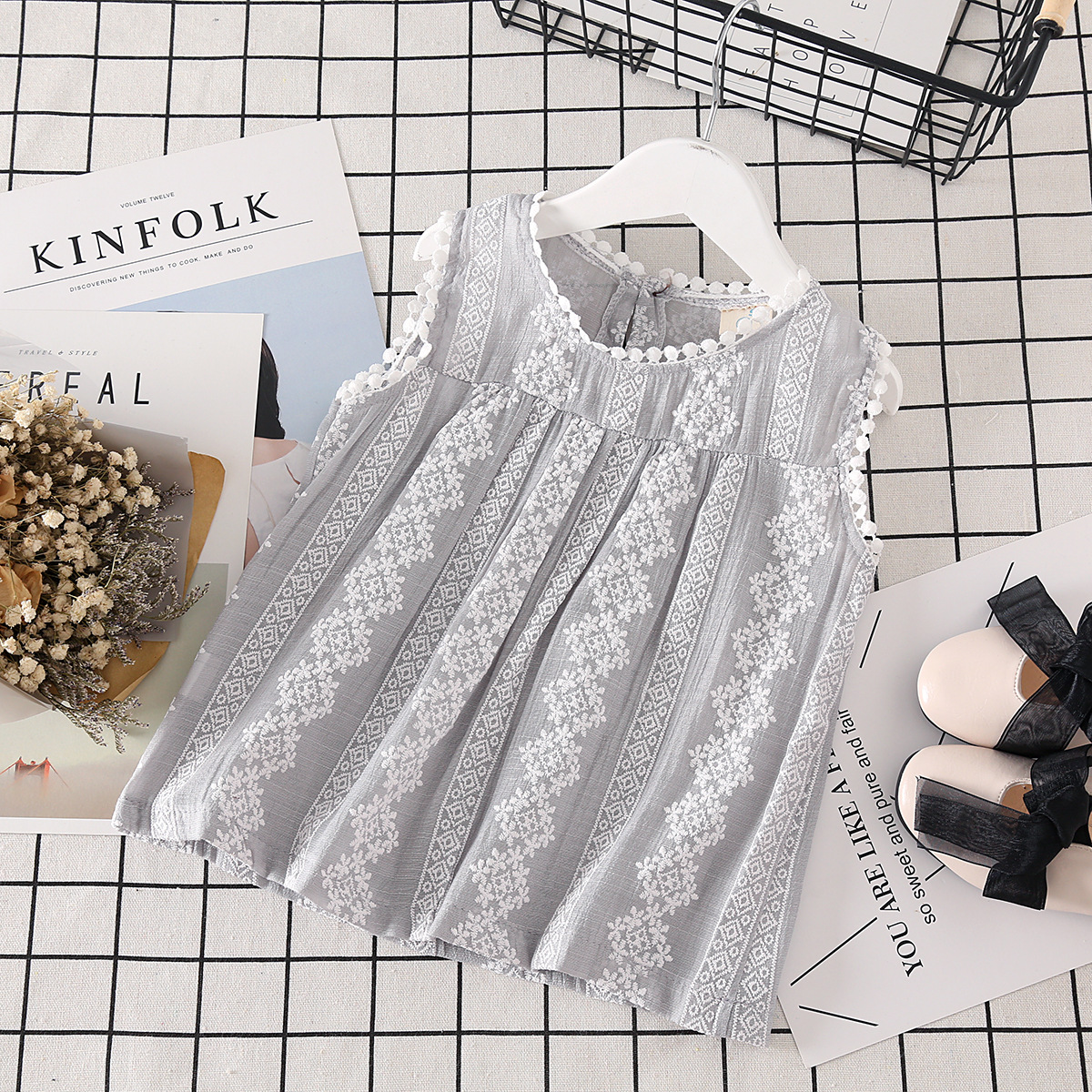 Kids Clothing Tops Lace Sleeveless Children's Girls Shirt Summer Sprin