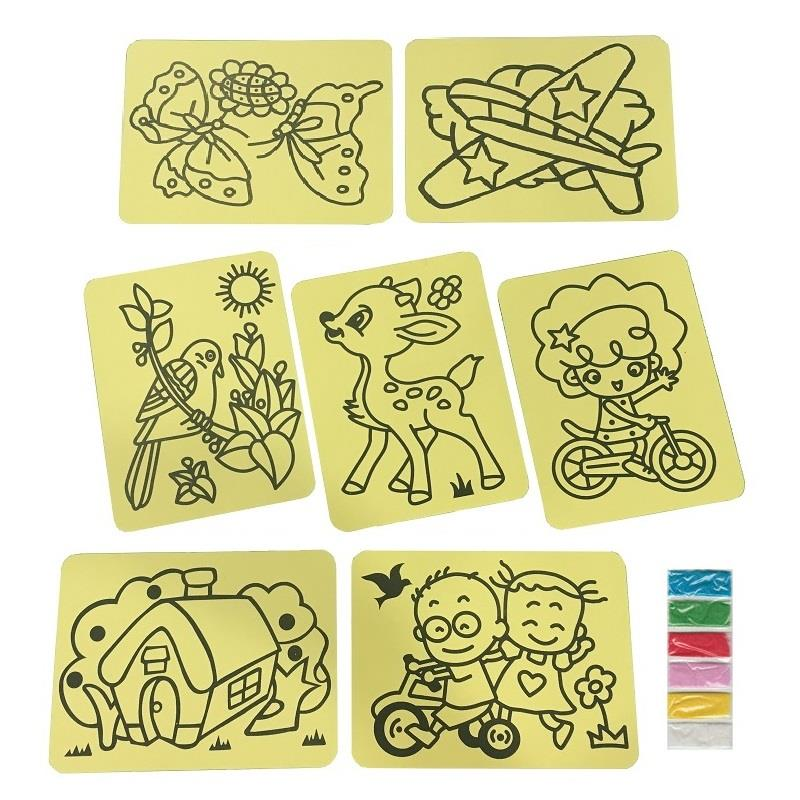 Kids Colouring Sand Art Set with Assorted Designs (20pcs)