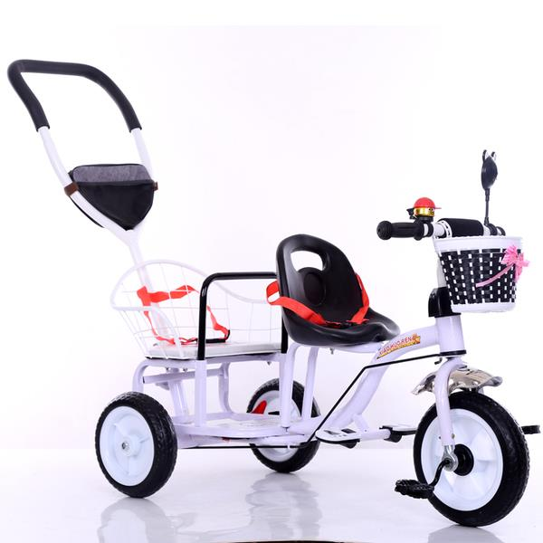 Kids Double Bicycle Twin Bicycle For Two Kids with Pedal and Push Hand