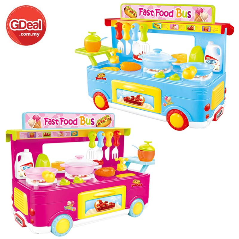 Kids Fun House Kitchen Toy Bus Dishes Tableware Pretend Play
