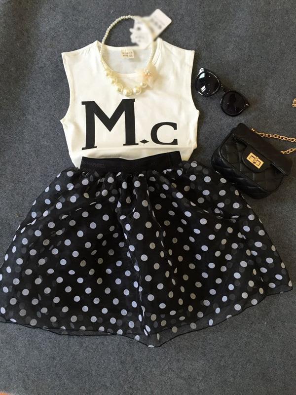 c52f5474435d1 Kids Girls Korean Sleeveless Top + Polka Dot Skirts Dress 2 Pieces Set