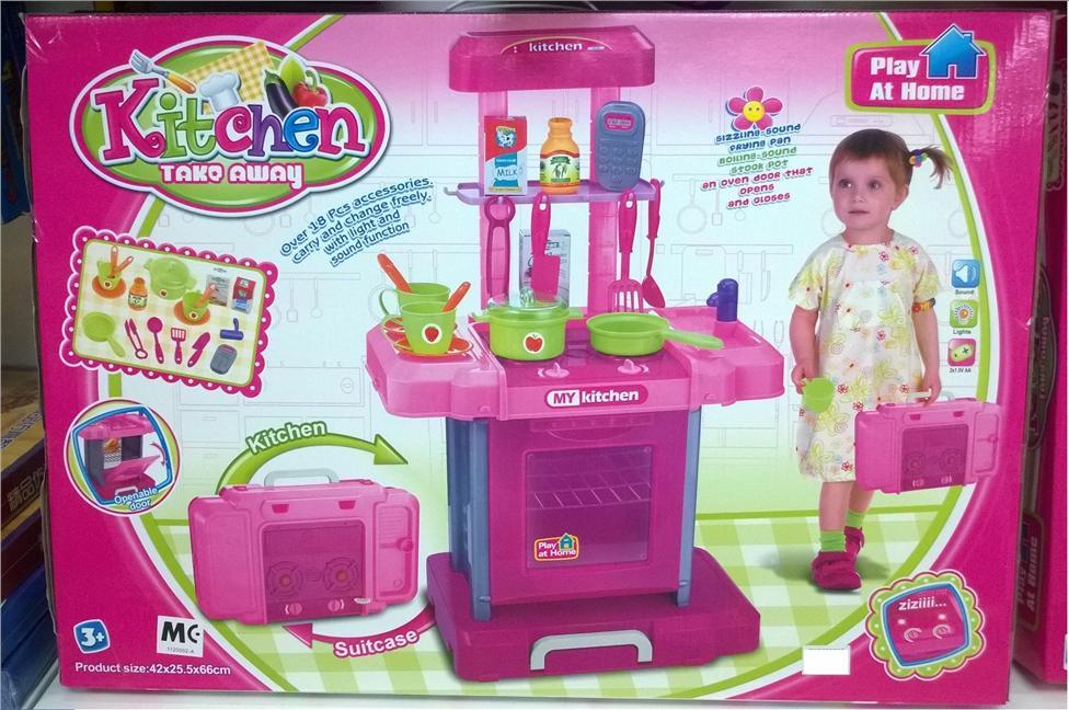 Kids Mini Kitchen Take Away Toys Mainan Dapur Kanak Bagasi