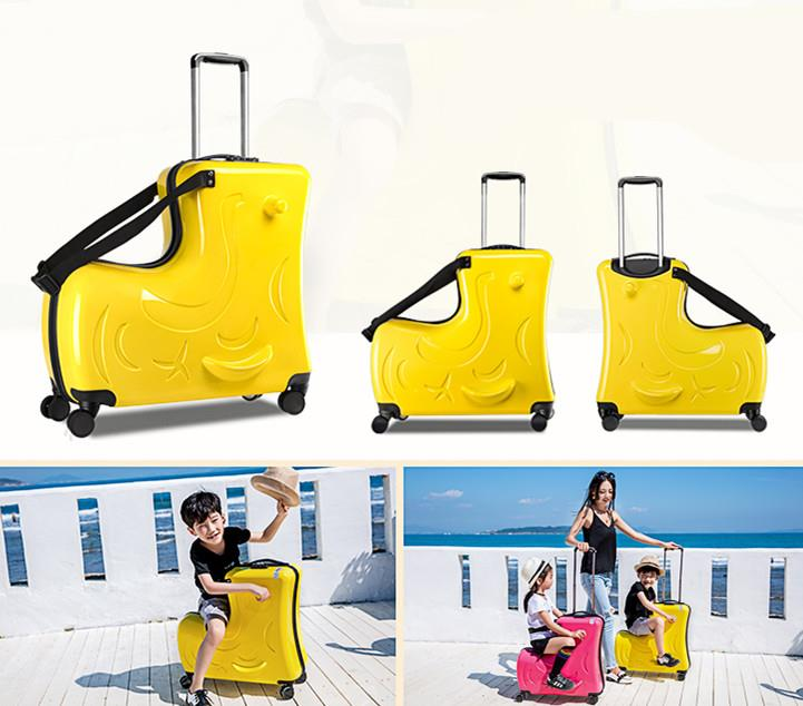 9a0dbe5fb Kids Riding Trolley ABS Hard-case Travel Bag Luggage Suitcase 4 Wheels