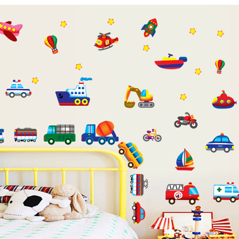 Kids room wall stickers cars removable children bedroom cute wall deca