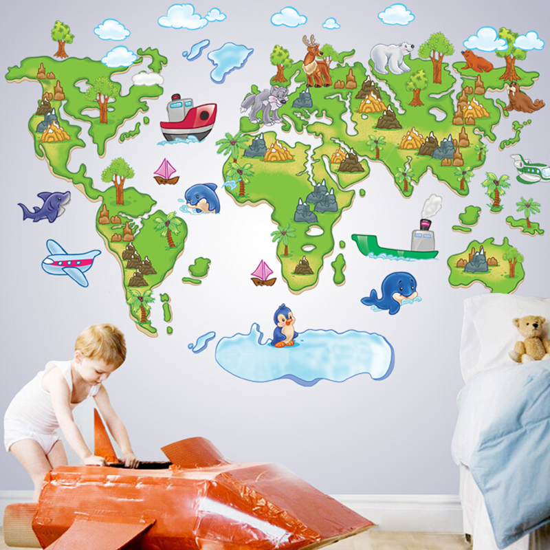 Kids room world map wall sticker rem (end 6/18/2019 3:59 PM)