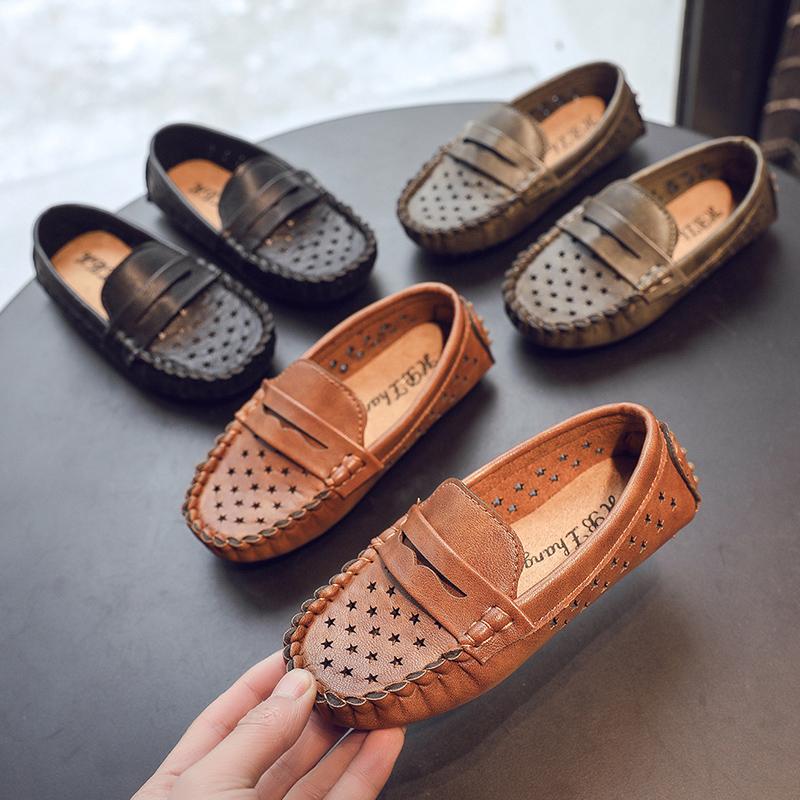 Kids Shoes Boys Leather Peas Leathe
