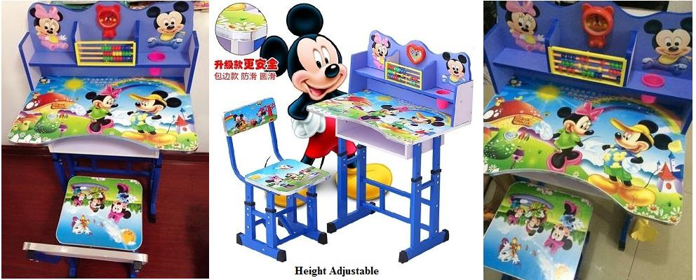Kids Table Chair, Mickey Mouse Study Table Chair, Height Adjustable
