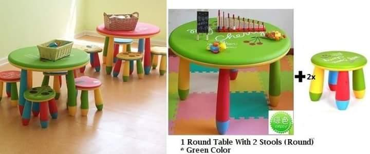 Kids Table: My Cheery Round Table With 2 Stools