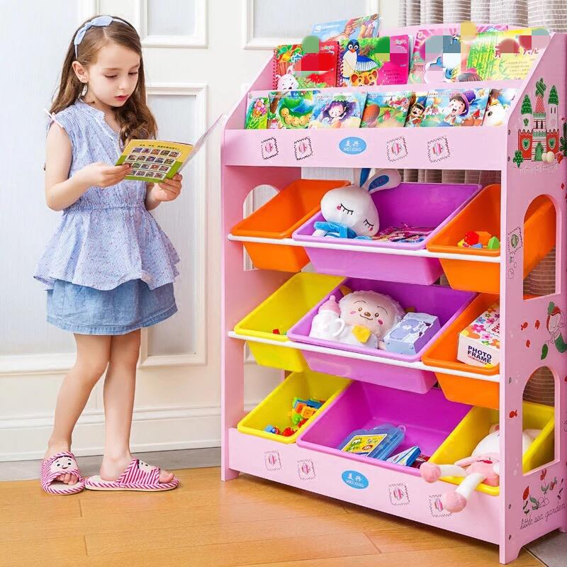 Kids Wooden Toy And Book Storage Shelf Childrens Bookcase Bookshelf. U2039 U203a