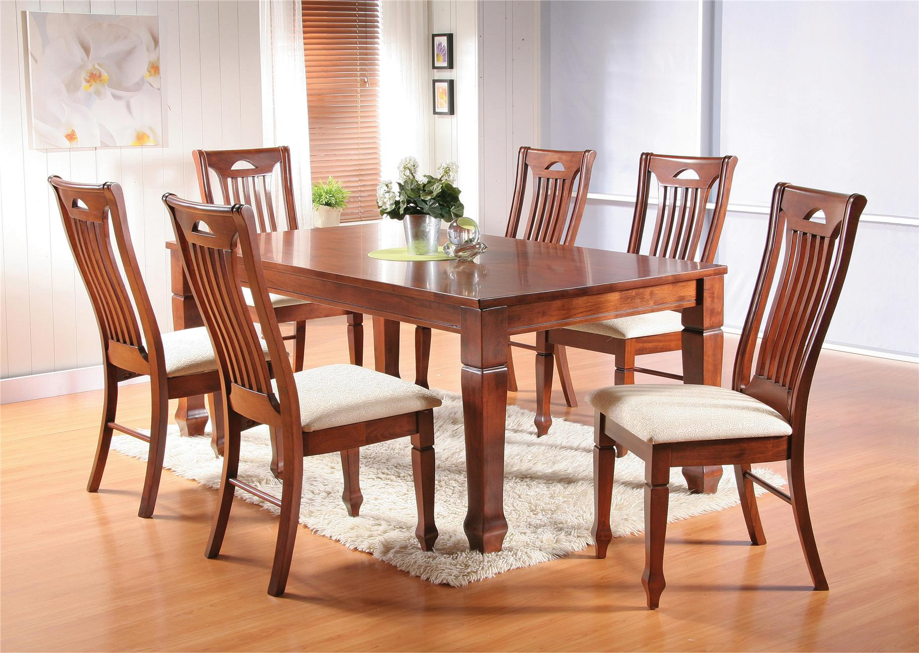 Kiew 6 Cushion Chair 1 Square Table Solid Wood Dining Set Meja Makan