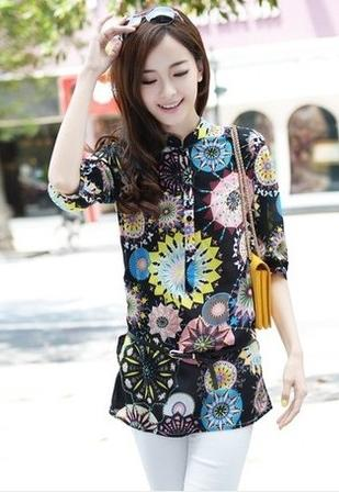 King Size Fashion Flower Pattern Shirt (Black)