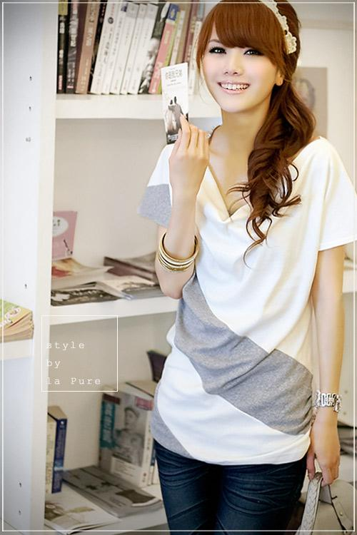 King Size Mix Colour Loose Short Sleeve Blouse (White Grey)