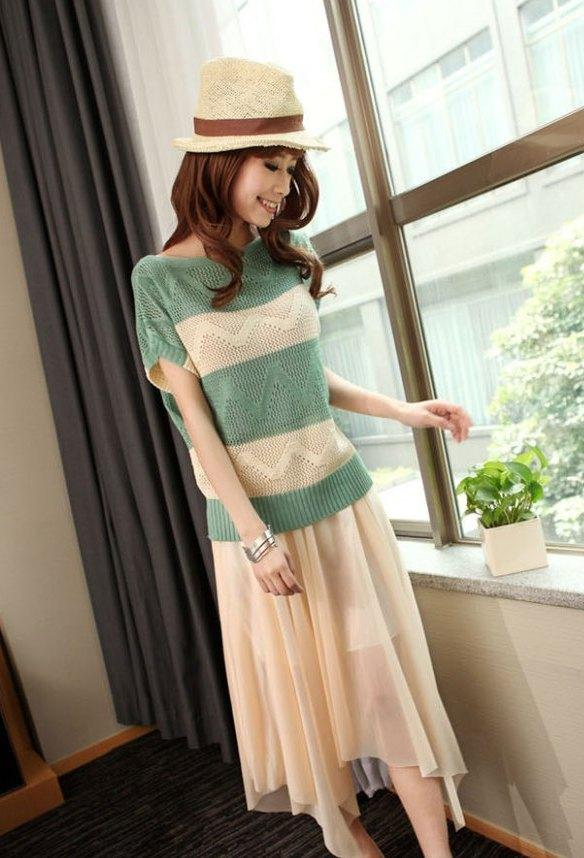 King Size Stripe Hollow Knit Blouse (Green)