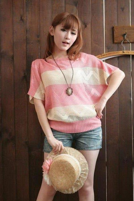 King Size Stripe Hollow Knit Blouse (Pink)