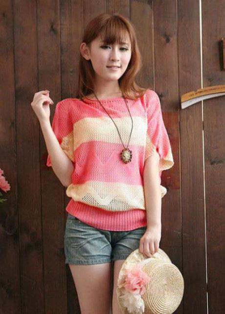 King Size Stripe Hollow Knit Blouse (Red Melon)