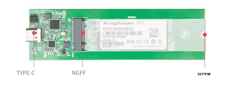 KINGSHARE NGFF/ M.2 80mm 2280 SSD to Type-C Casing Silver (S435)