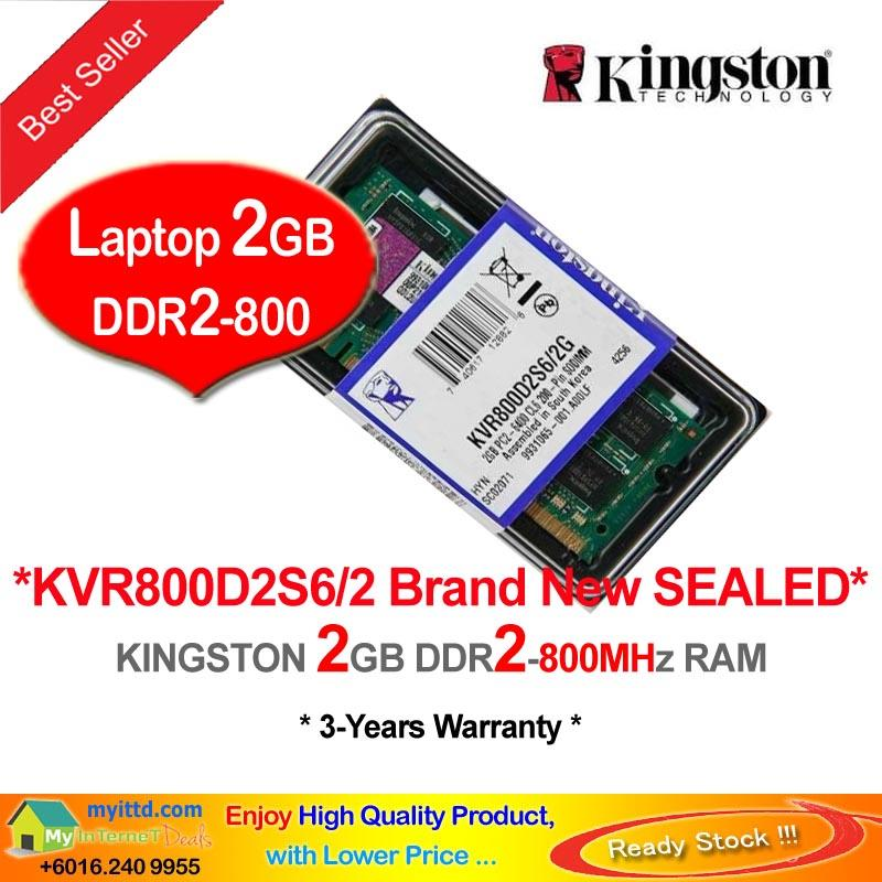KINGSTON 2GB DDR2-800 NOTEBOOK RAM Memory (KVR800D2S6/2)