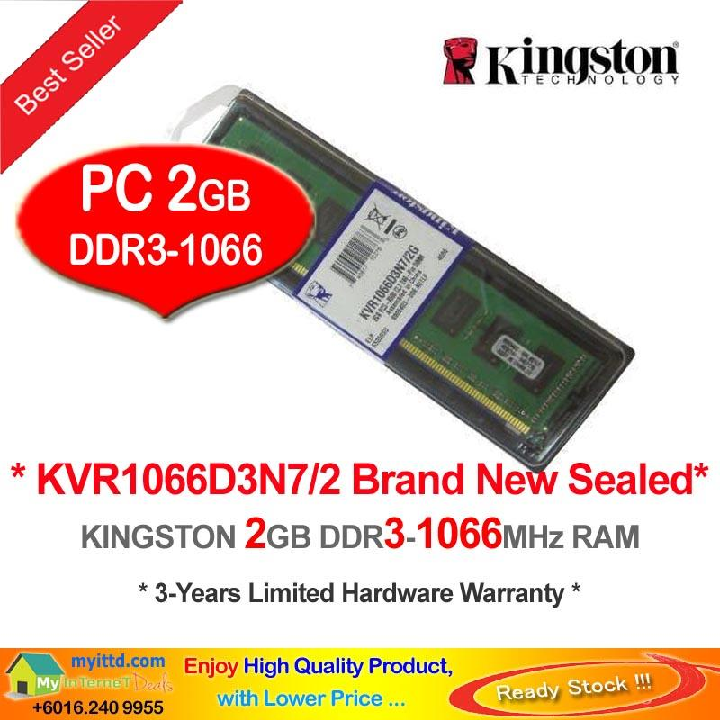KINGSTON 2GB DDR3-1066 DESKTOP PC RAM Memory (KVR1066D3N7/2)