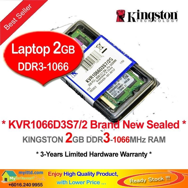 KINGSTON 2GB DDR3-1066 LAPTOP / NOTEBOOK RAM Memory (KVR1066D3S7/2)