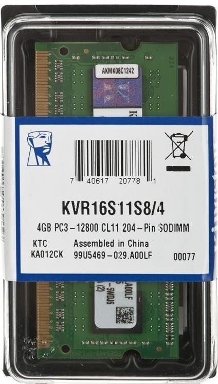 Kingston 4GB 1600MHz DDR3 CL11 SODIMM - KVR16S11S8/4
