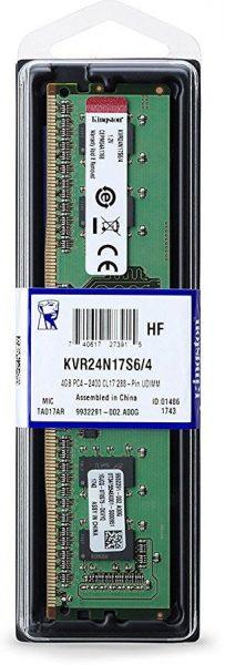 Kingston 4GB 2400MHz DDR4 Non-ECC CL17 DIMM - KVR24N17S6/4