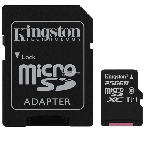 KINGSTON 80MB/s Class 10 Micro SD XC 256GB Memory Card MicroSD