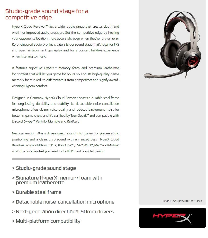 KINGSTON HYPER-X GAMING CLOUD REVOLVER HEADSET BLK (HX-HSCR-BK/AS)