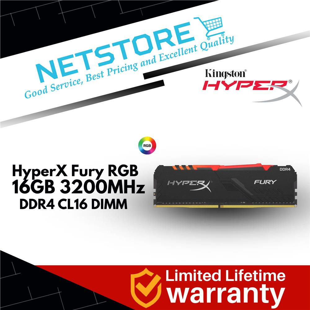 Kingston HyperX Fury 16GB 3200MHz DDR4 CL16 DIMM RGB HX432C16FB3A/16