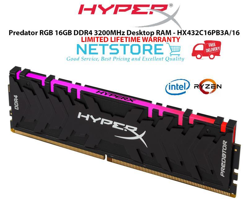 KINGSTON HYPERX PREDATOR RGB 16GB DDR4 3200MHz RAM HX432C16PB3A/16