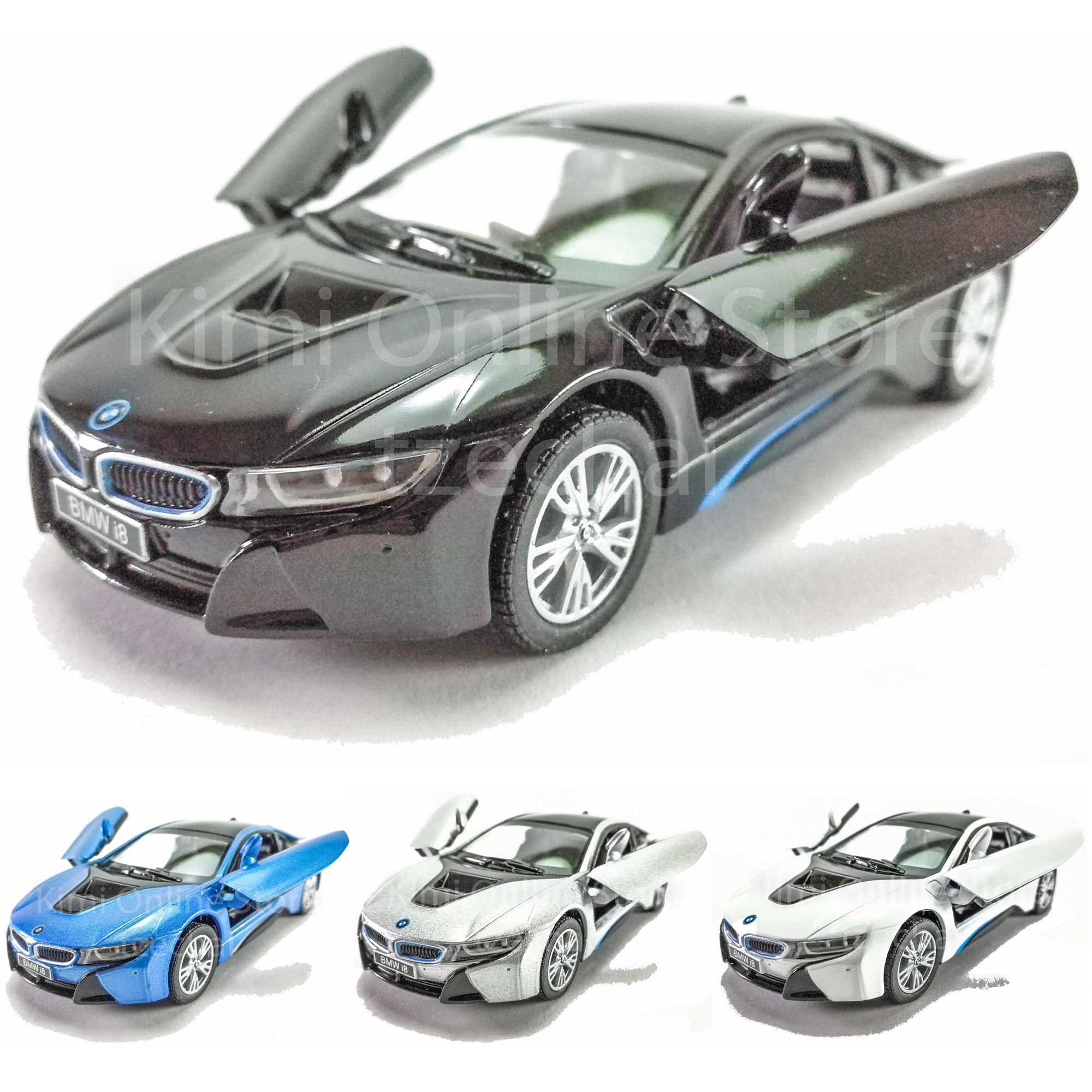 Kinsmart Diecast Car 136 BMW I8 Blue Silver White Black Model Friction Toys W