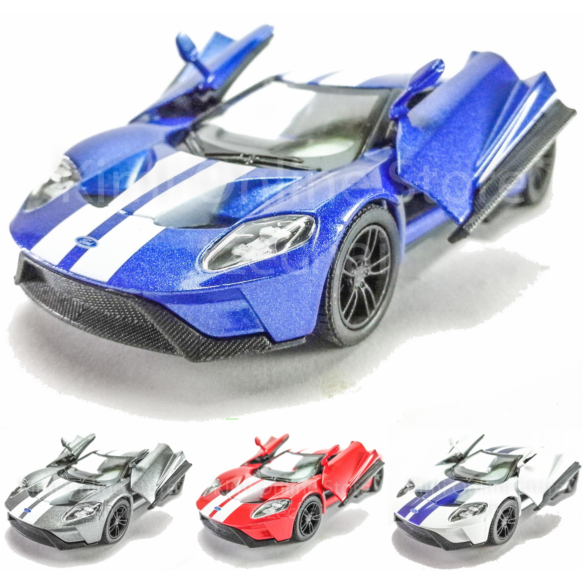 Kinsmartcast Car   Ford Gt Blue Red Grey White Model Friction Toys