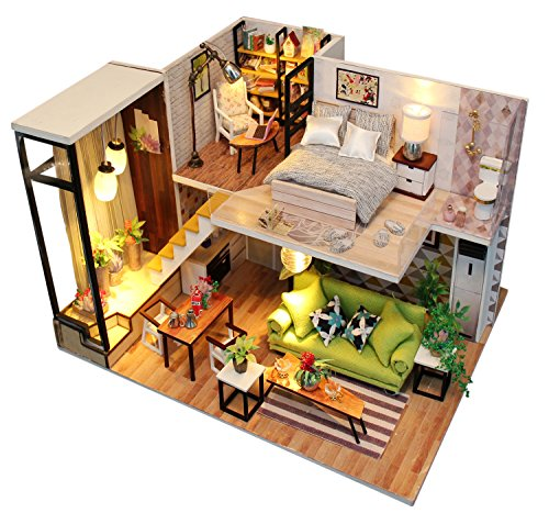 Kisoy Romantic and Cute Dollhouse Miniature DIY House Kit Creative Room Perfec
