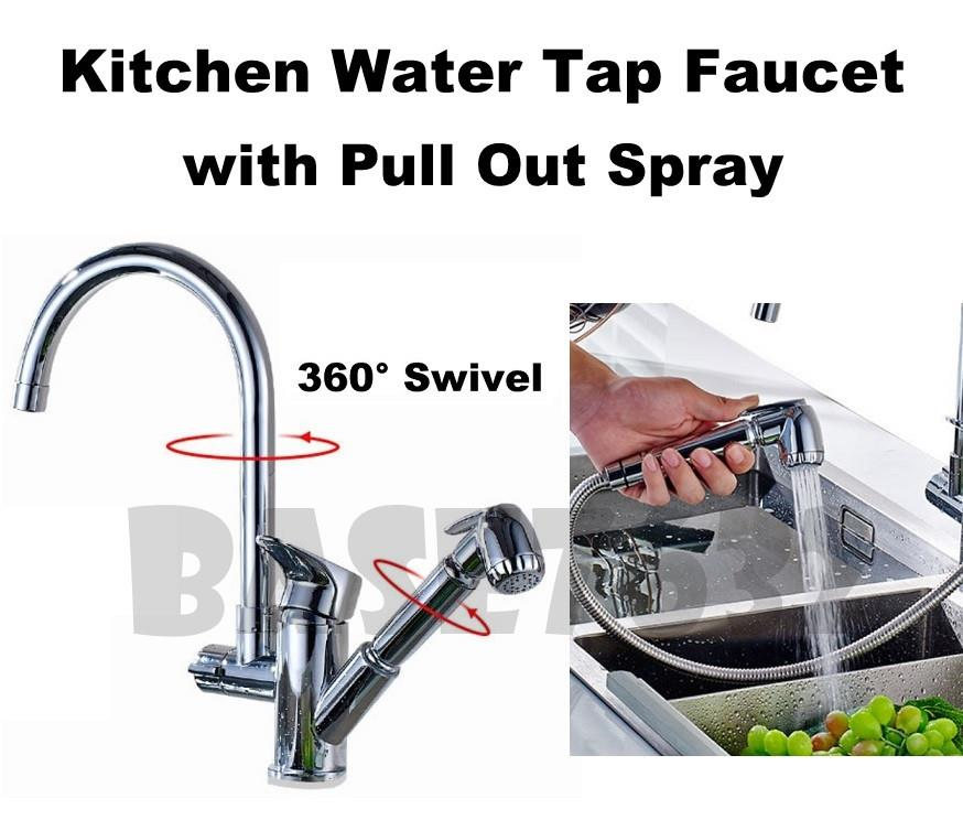 Kitchen Pull Out Spray  Water Basin Sink Mixer Tap Pipe Faucet