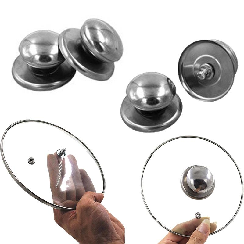Kitchen Stainless Steel Pot Lid Cover Knob Handle - Silver(2pcs)