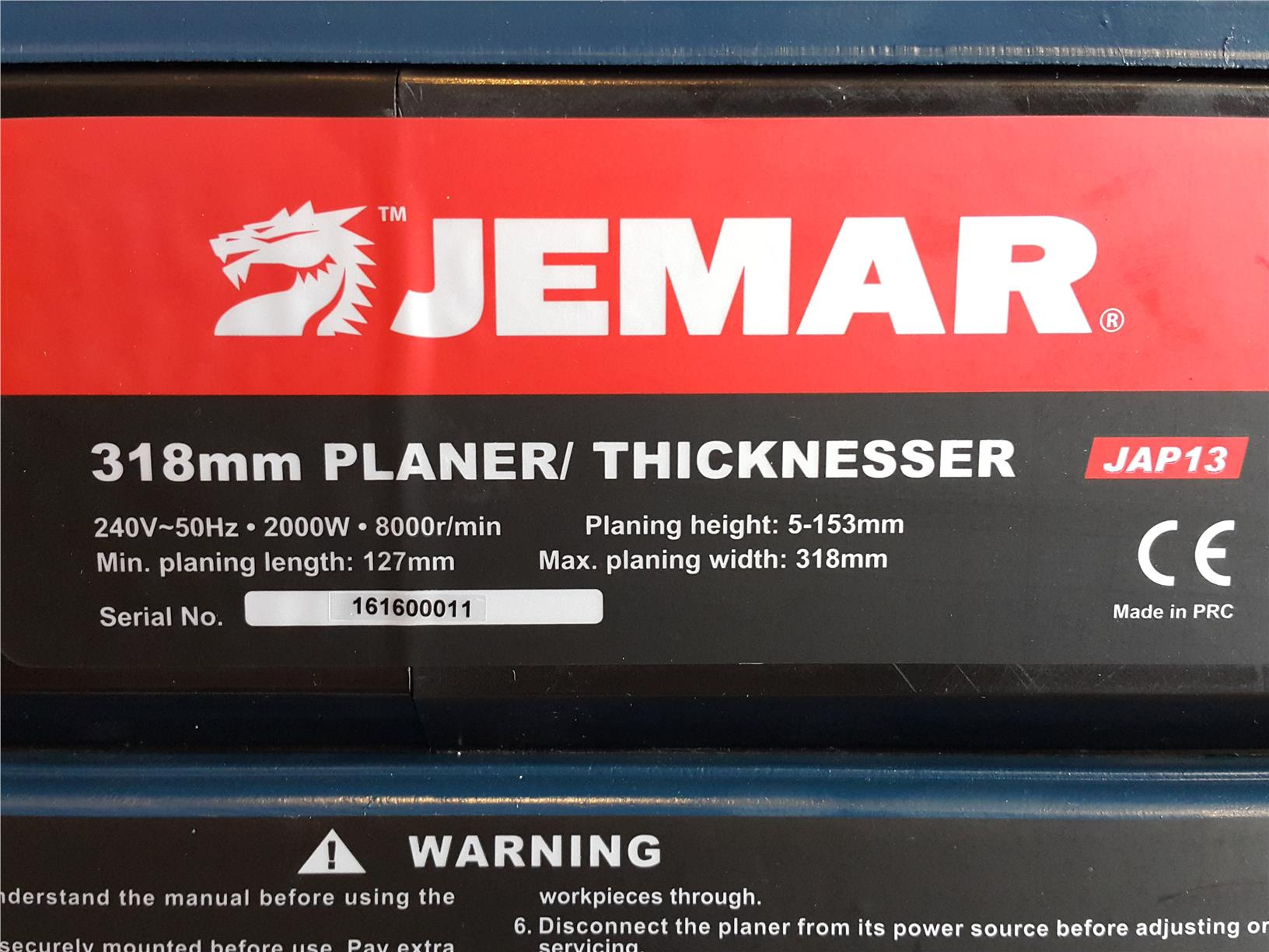 "KJAP13 318MM/12.5"" Thickness Planer ID30726"