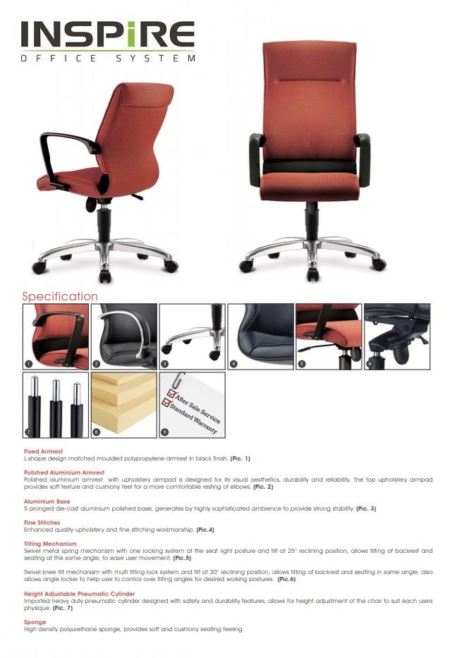 Klair Series P.U Leather Medium Back Office Chair