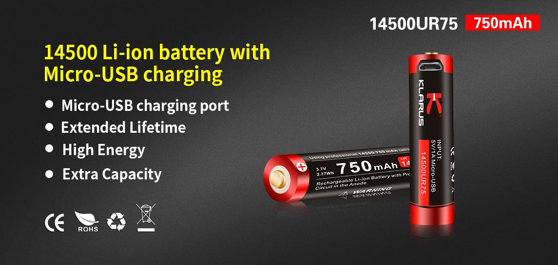 Klarus 14500 Li-ion 750mAh Micro USB Charging Rechargeable Battery