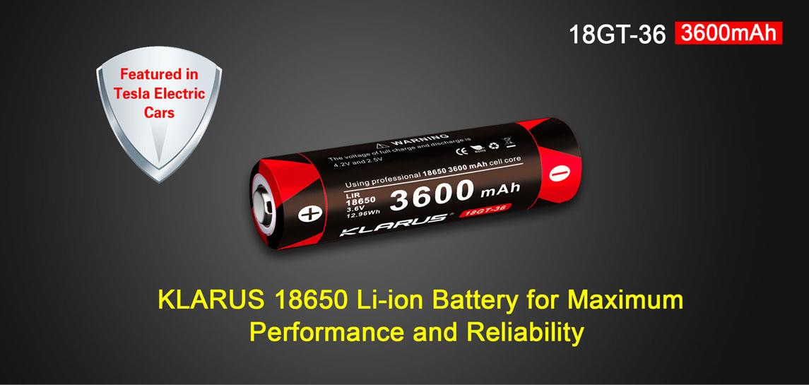 Klarus 18650 18GT-36 Li-ion 3600mAh Rechargeable Battery
