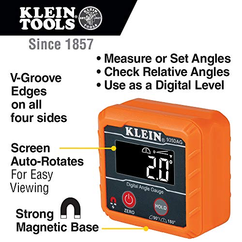Klein Tools 935DAG Digital Electronic Level and Angle Gauge, Measures 0 - 90 a