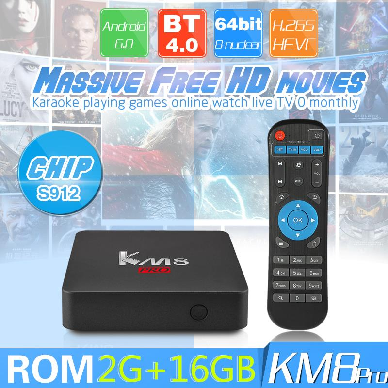 KM8 Pro S912 Android 6 0 TV BOX 2GB/16GB Kodi 17 0 WIFI 4K HD IPTV